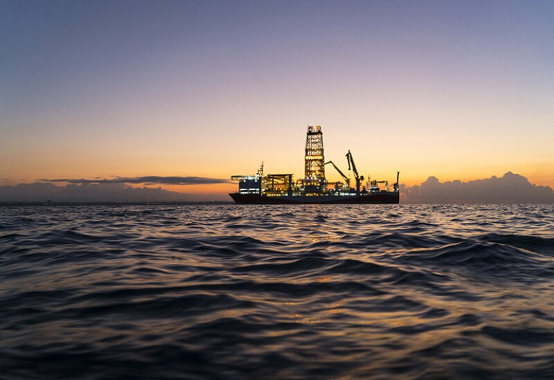 Oil Tanker with sunset on the ocean