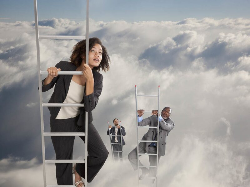 people climbing ladders through the clouds