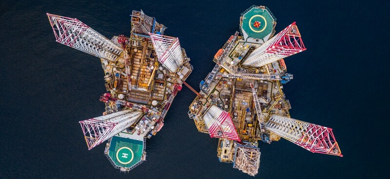 Two drilling rigs photographed from directly above, Cromarty Firth, Scotland, United Kingdom