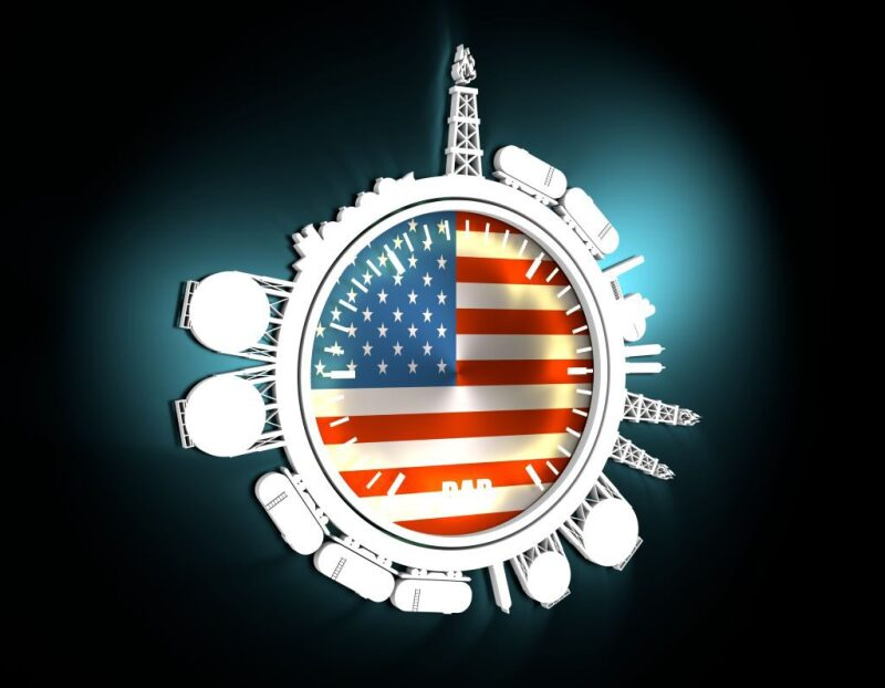 US flag in center of circle with representations of different gas forms