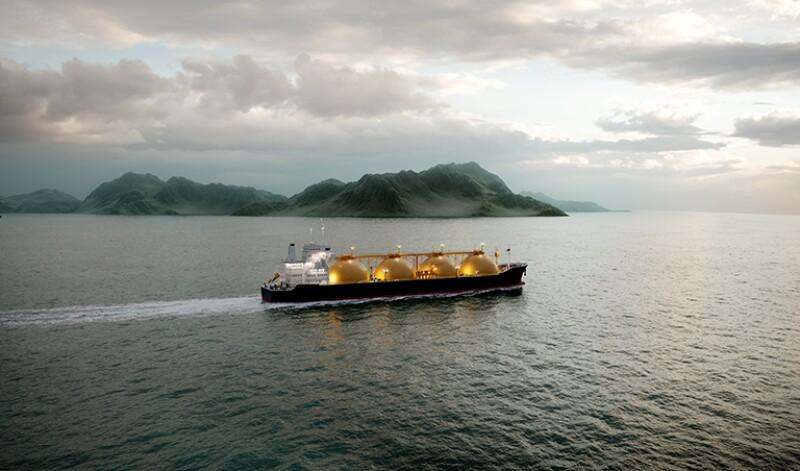 3D rendering gas tanker sailing in ocean