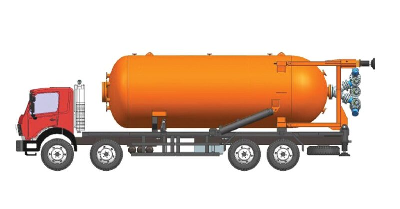 Drawing of truck for blending waterless fracturing materials