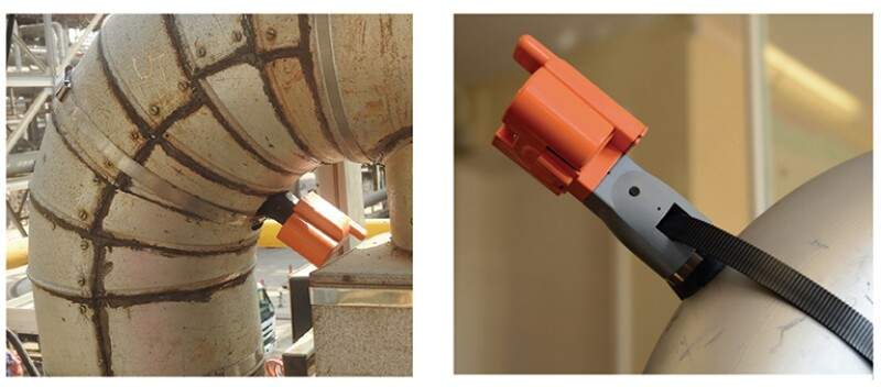 Wireless UT sensor installed on a pipe.