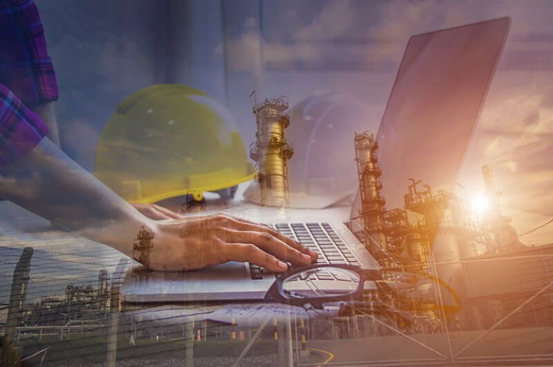 Double exposure of engineer meeting for architectural project and working with partner engineering on workplace of oil and gas refinery concept.