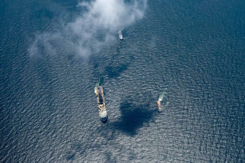 Drillship in Gulf of Mexico seen from the air