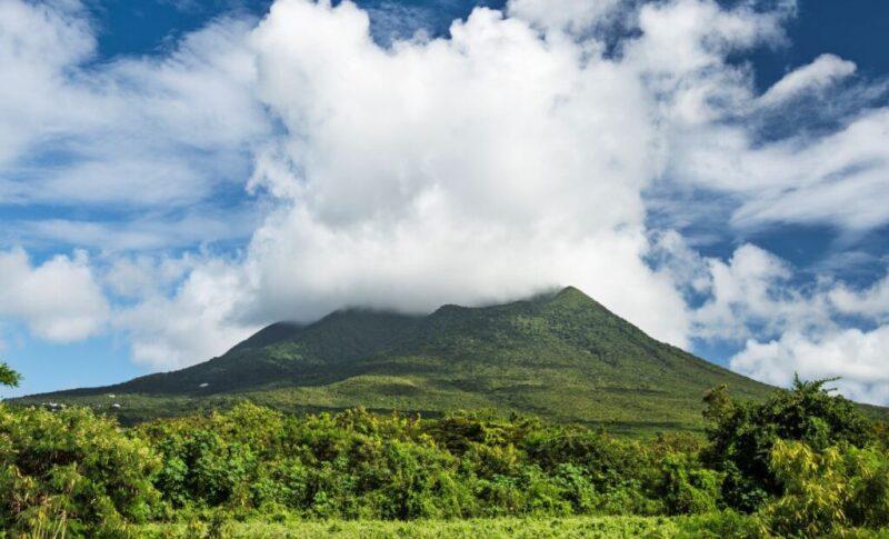Nevis Peak volcano releasing steam