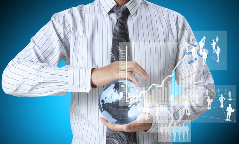 worker holding a globe with data graph