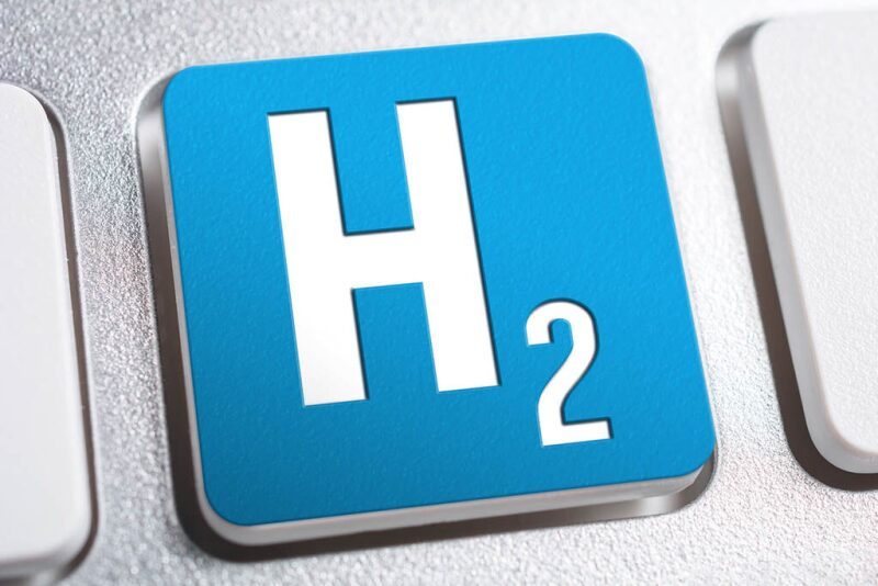 Symbol for hydrogen (H2) on a button