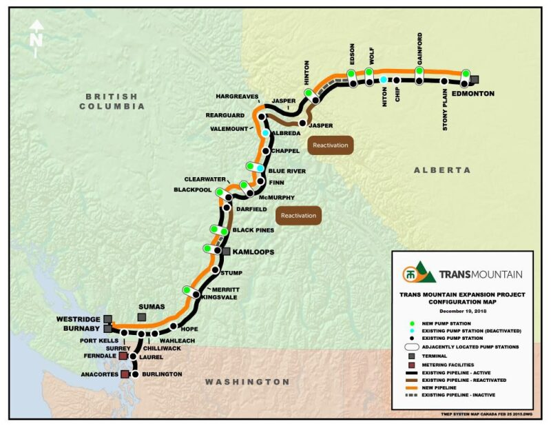 Map of TransMountain pipeline project