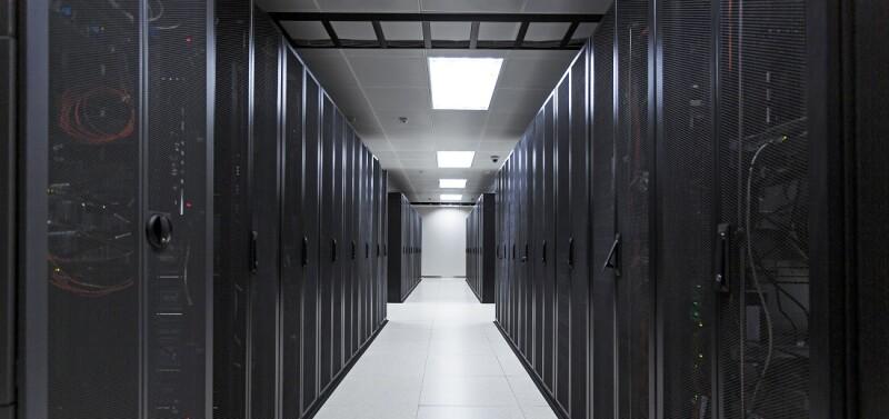 Computer server room at a data center