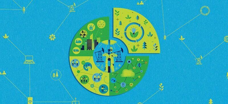 Graphical representation of industry symbols, computing symbols, people, fuel consumption symbols, and environmental symbols.