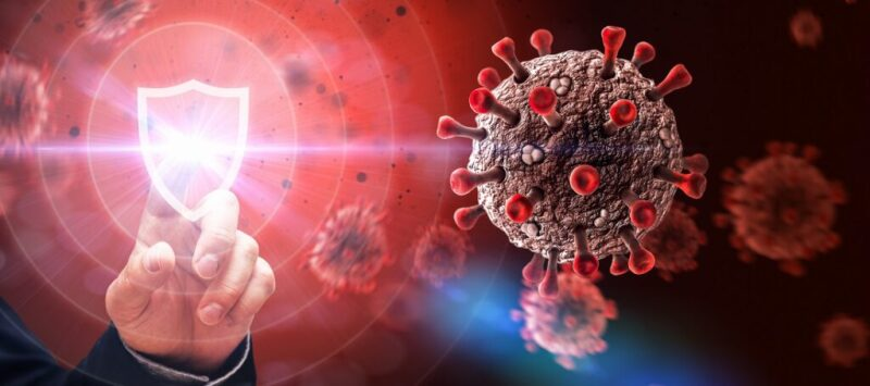 Graphic of a hand touching a digital badge against a background of coronavirus