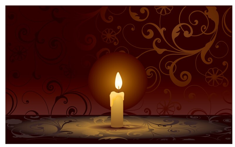 Single candle on background with scrolls