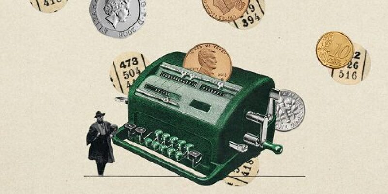 Illustration of coins and an old time adding machine