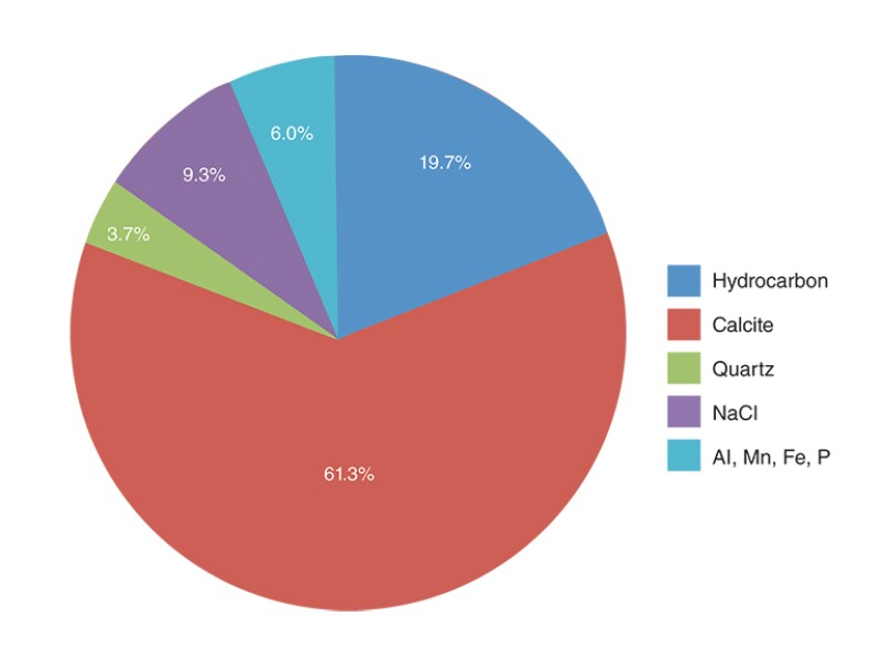 Pie chart of mineralogy composition of the sample taken from the ESP.