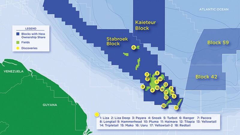Map of Guyana offshore oil fields