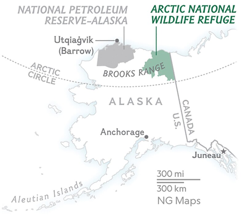 Location of US Arctic oil and gas reserves.
