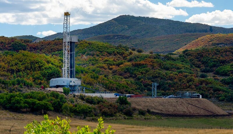 Fracking Drilling Rig in the Autumn Mountains of Colorado
