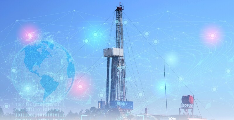 exploration and drilling concept for oil and gas production. Geological exploration using artificial intelligence to clarify productive areas and their productivity