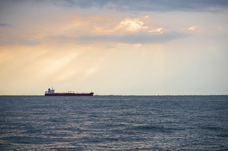 Oil tanker ship on the sea