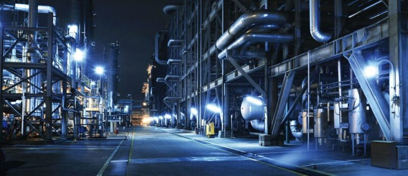 Industrial facility at night