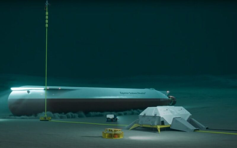 Illustration of an unmanned submarine landing on the seafloor