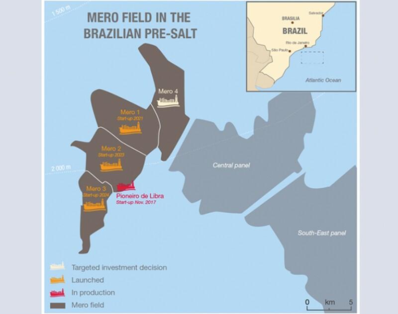Map of the Mero field in Brazil.