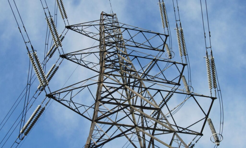 View of electric transmission towers