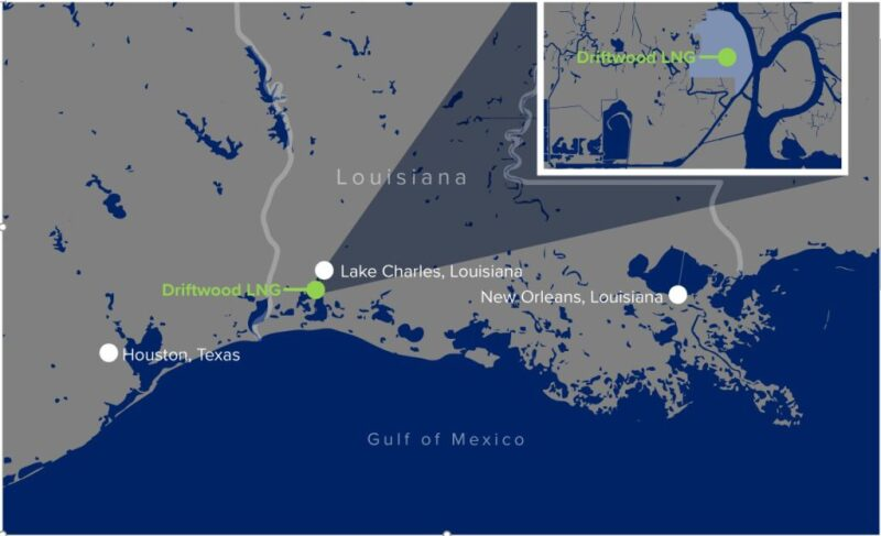 Map of Gulf Coast showing location of Driftwood LNG