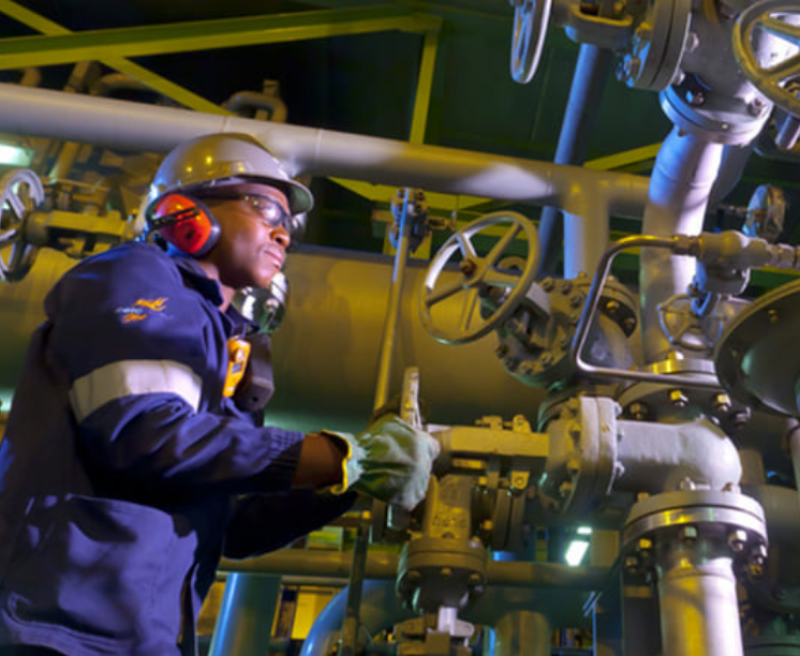 An operator at a Sasol refinery in Mpumalanga Province, South Africa.