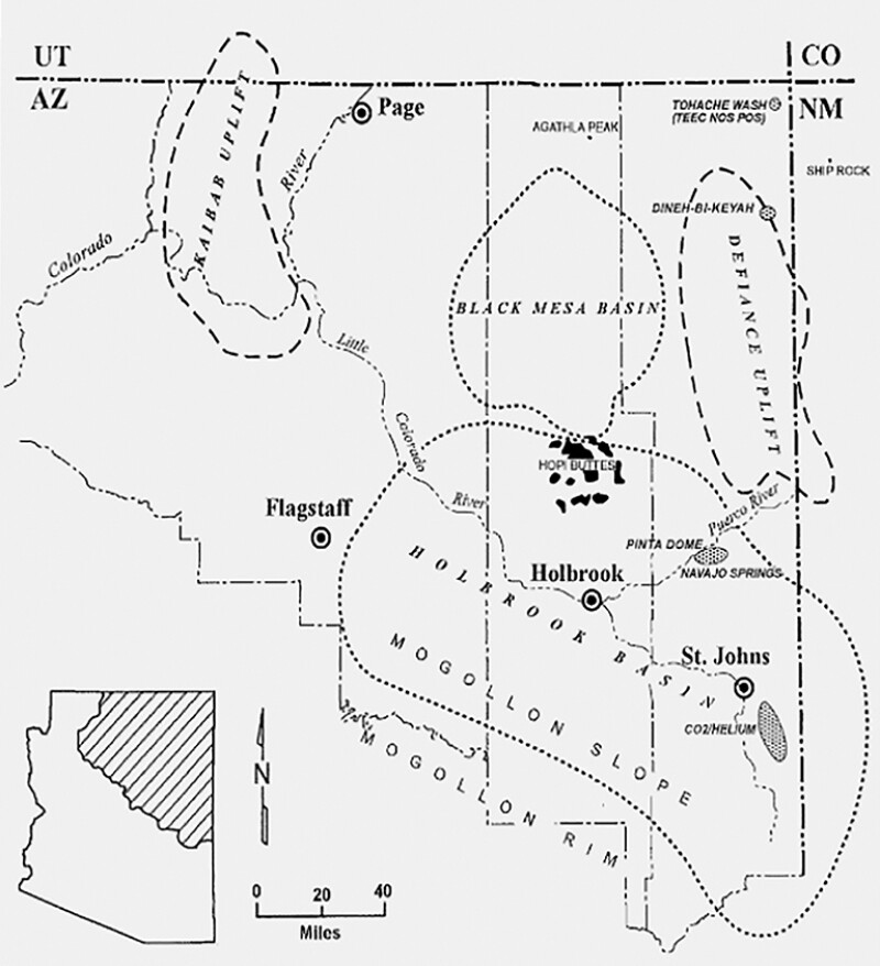 A map of the Holbrook area where Desert Mountain Energy is drilling for helium reserves. Source: Desert Mountain Energy.