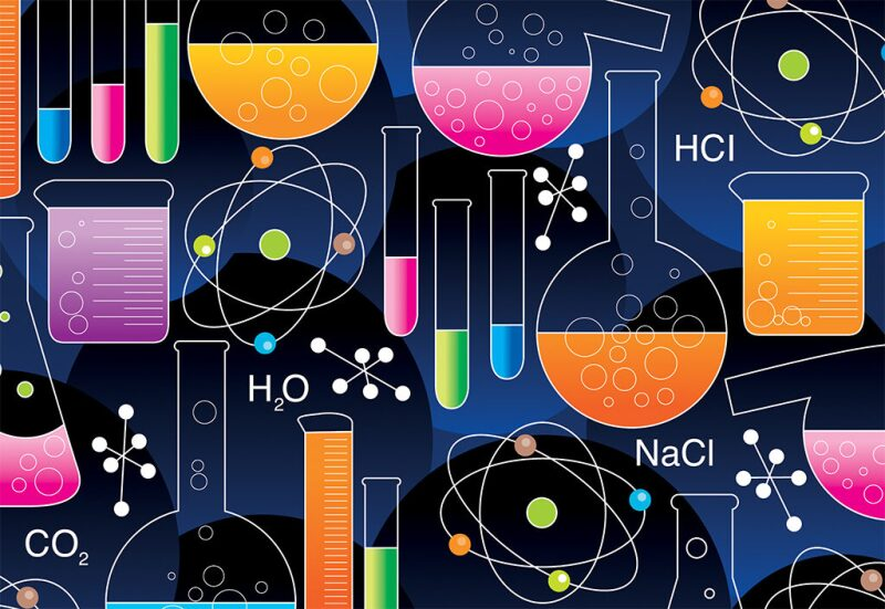 Graphic with chemical symbols, test tubes and beakers in bright colors