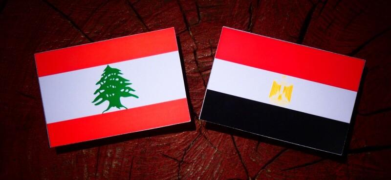 Lebanese flag with Egyptian flag on a tree stump isolated