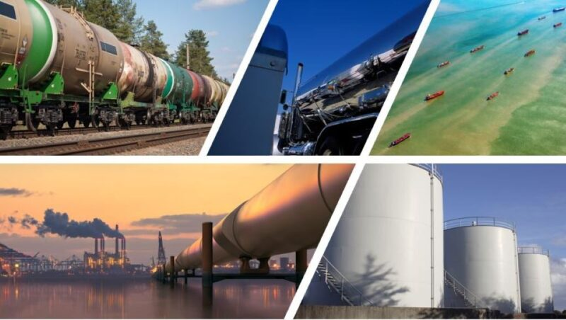 Collage showing railroad tank cars, a pipeline, oil tankers on the ocean, and large storage tanks