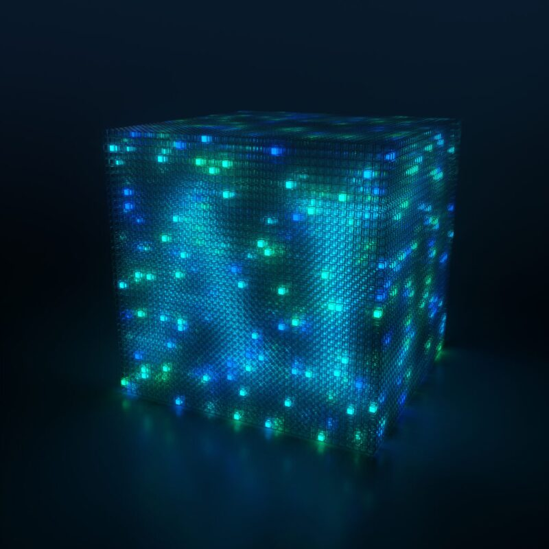 Cube with colored LED lights