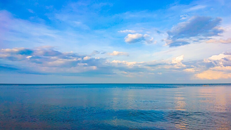 Beautiful sea landscape in morning Thailand.Horizontal sea with sky background.Sea view and cloudy.