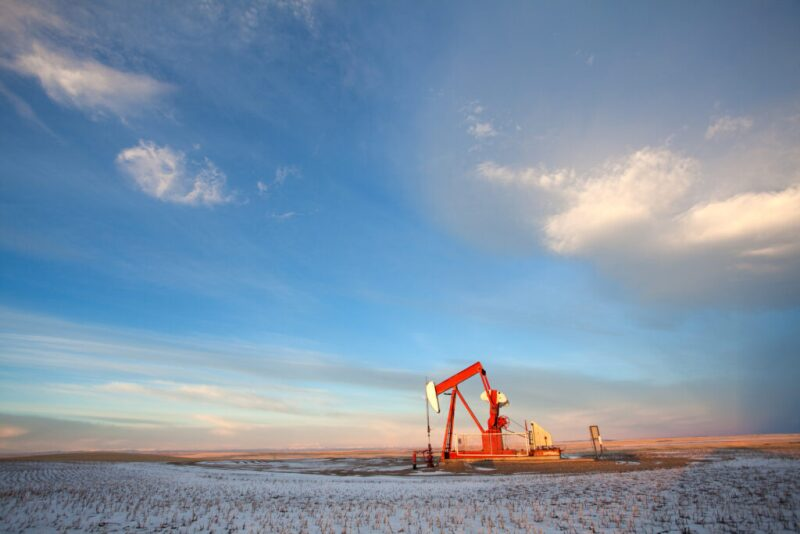 Pump jack on isolated well site