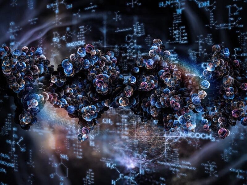 Abstract image of molecules over chemical formulas