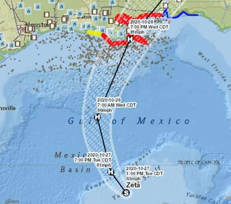 Map showing projected path of Hurricane Zeta