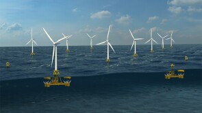 Illustration of a floating structure that generates power from wind and waves.