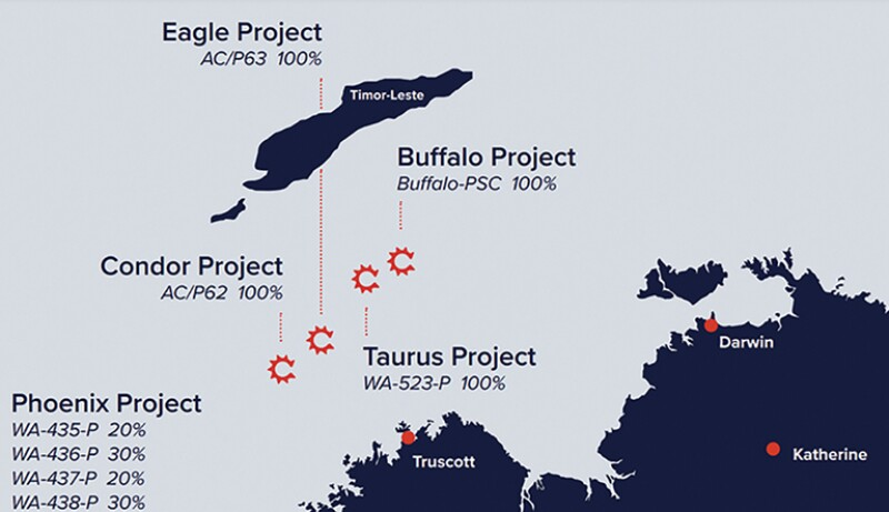 Map of the Buffalo project area off Western Australia.