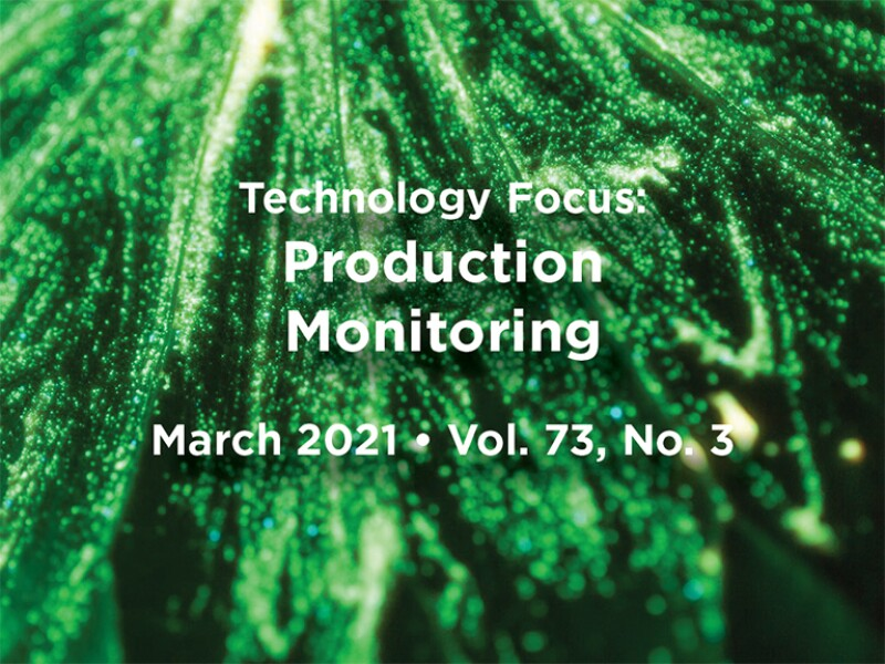 Production Monitoring Intro text with green abstract background