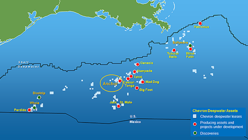 Map showing Chevron projects in Gulf of Mexico