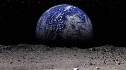 Earth as seen from the moon's surface