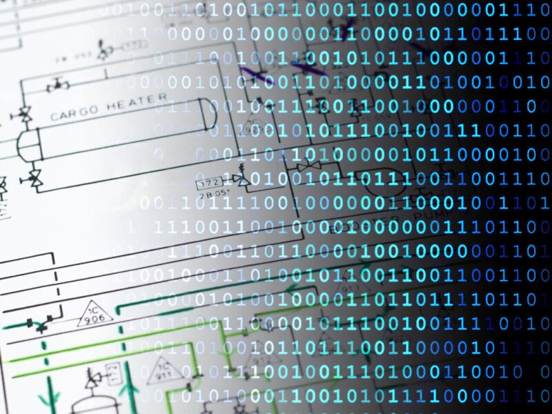 Graphic with binary code overlaying a technical drawing