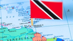 Map and flag of Trinidad and Tobago