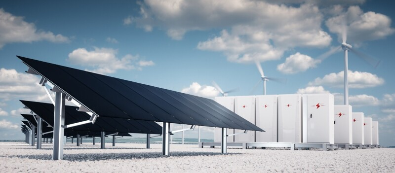 This 3D rendering shows a concept of renewable energy storage consisting of efficient dark solar panel panels, a modular battery energy storage system, and a wind turbine system.