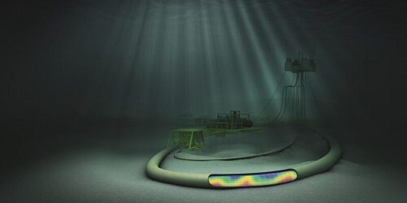 Illustration of a subsea pipe with a portion cut away to illustrate simulation of activity
