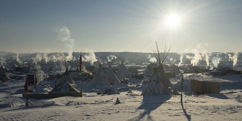 Camp in North Dakota where protests against pipeline occurred