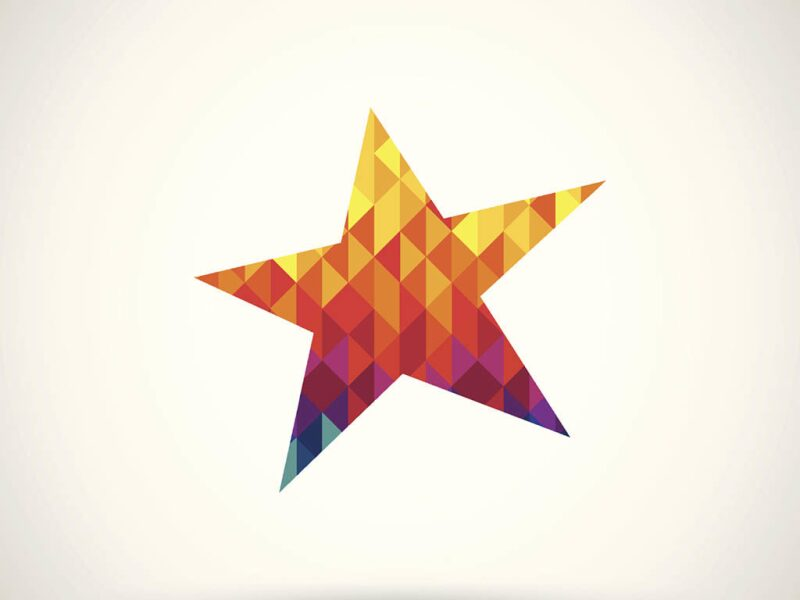 Star cut from colored pattern